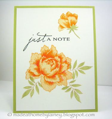Made @ Home: Just A Note card using Altenew Peony Bouquet (PTI Botanical Silhouettes sentiment)