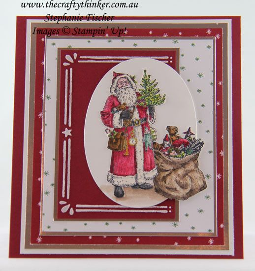 www.thecraftythinker.com.au, Father Christmas, Layered card, Cardfront Builder, Xmas Card, #thecraftythinker, Stampin' Up