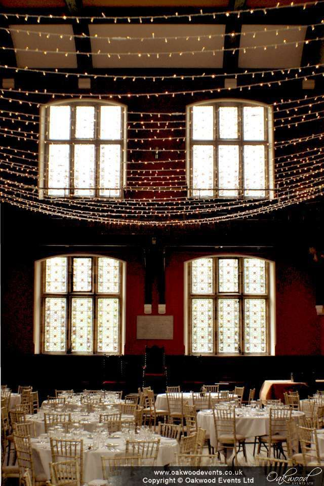 View from the door as your enter the chamber, under a canopy of fairy lights