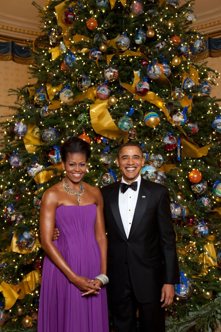 White house christmas ornaments by year -  President Barack Obama And First Lady Michelle Obama Pose For A Formal Portrait In Front Of The Official White House Christmas Tree In The Blue Room Of The