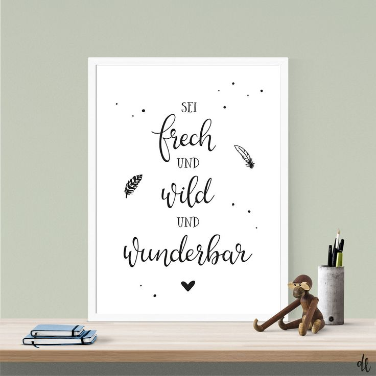 Children's room-picture: Be Naughty and wild | Poster, children's room, print, print, art print, digital printing, Sprücheposter, typography