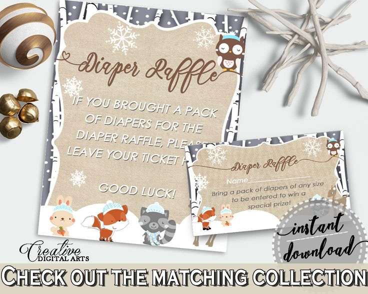 Diaper Raffle, Winter Woodland Baby Shower Winter Woodland Theme in Brown And Gray, shower inspirations, party organization - RM4SN #babyshowergames #babyshower