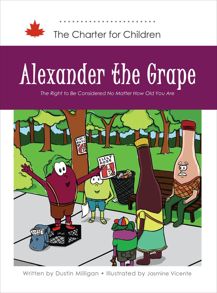 Will the grapes in the vineyard listen to a young grape of only 9 years of age (or 9 and a quarter as he suggests)? This story seeks to teach children about the right to equal treatment and freedom from discrimination on the basis of age. This right protects a variety of persons—children, youth, adults, and the elderly—from unfair treatment.