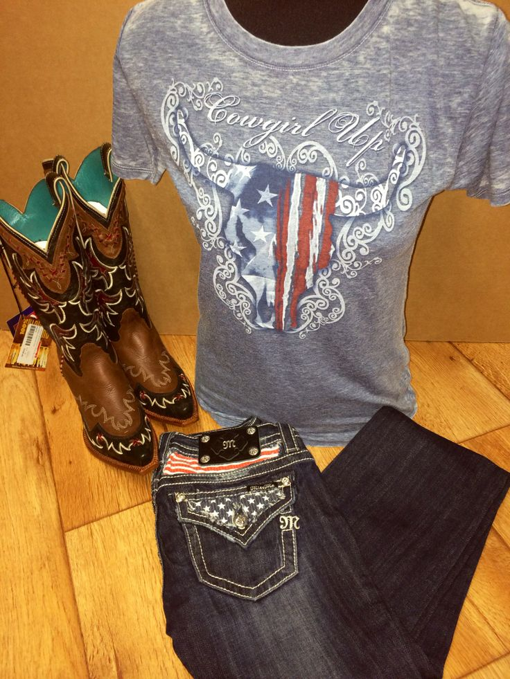 Outfit of the Day! Brand New Patriotic Miss Me Jeans Cowgirl Up Vintage American Flag Cow Skull and Tony Lama Boots! All Items are available in-store and on-line Free shipping on orders over $99 and go on our website to receive 5-10% off your order.
