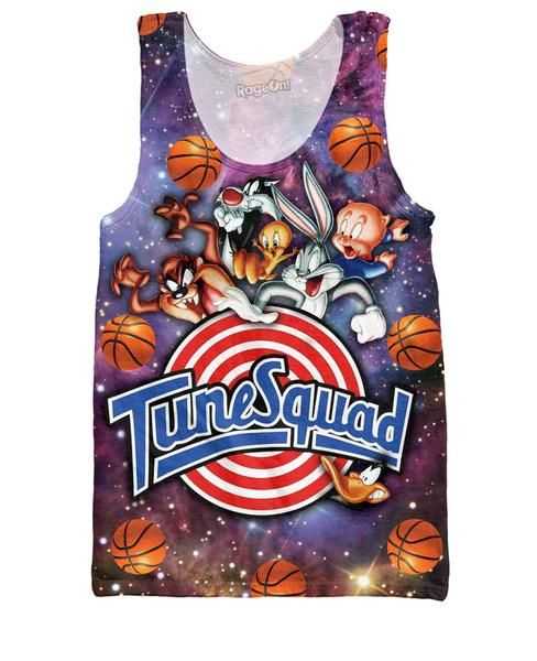 Join the Squad with this all-over print Space Jam Tune Squad Tank Top design! This sexy tank features Warner Brothers, Looney Tunes as they team up in the 1996
