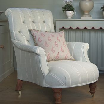 Our Handmade Button Backed Arm Chair looks so comfortable in Duck Egg Ivory Vintage