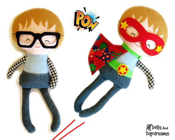 Superhero Sewing Pattern PDF - Removable Doll Glasses, reversible Mask, Cape, Belt included, Plus Glasses, Mask will fit your children too