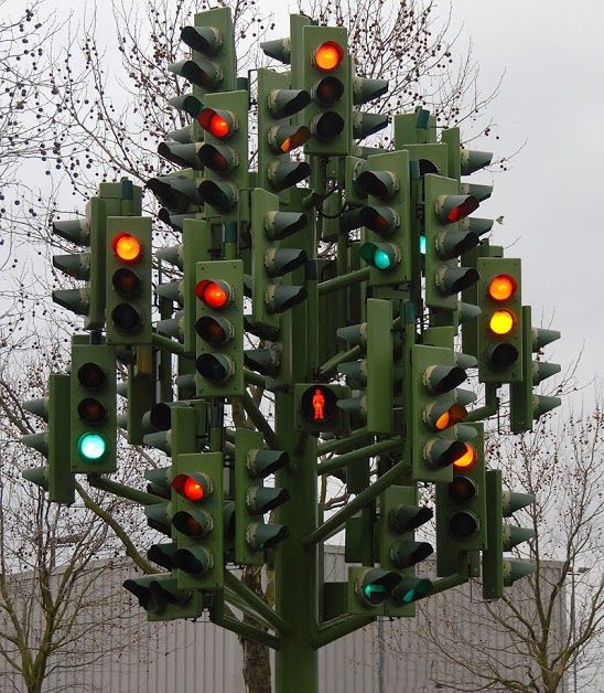 At the corner of #wtf and when do I go. #stoplight #directions