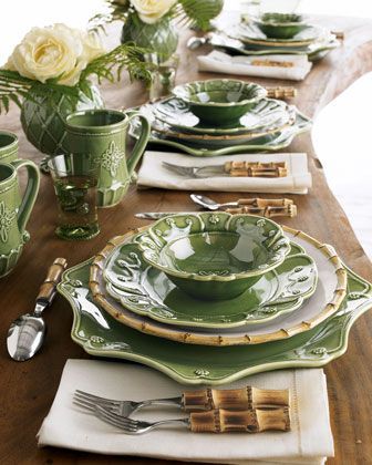 green & bamboo dinnerware...cute for a luncheon: Table Settings, Tablesettings, Juliska Garden, Place Setting, Tablescapes, Table