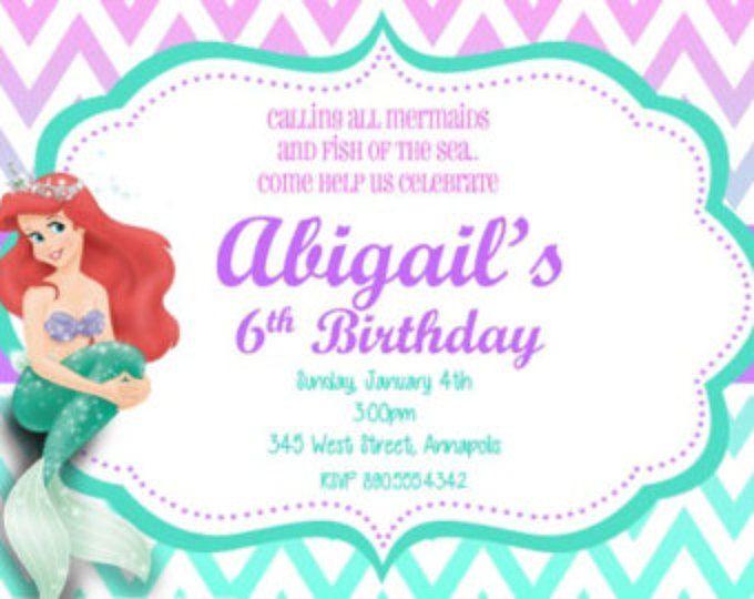 Little Mermaid Ariel fiesta invitación del cumpleaños - archivo Digital