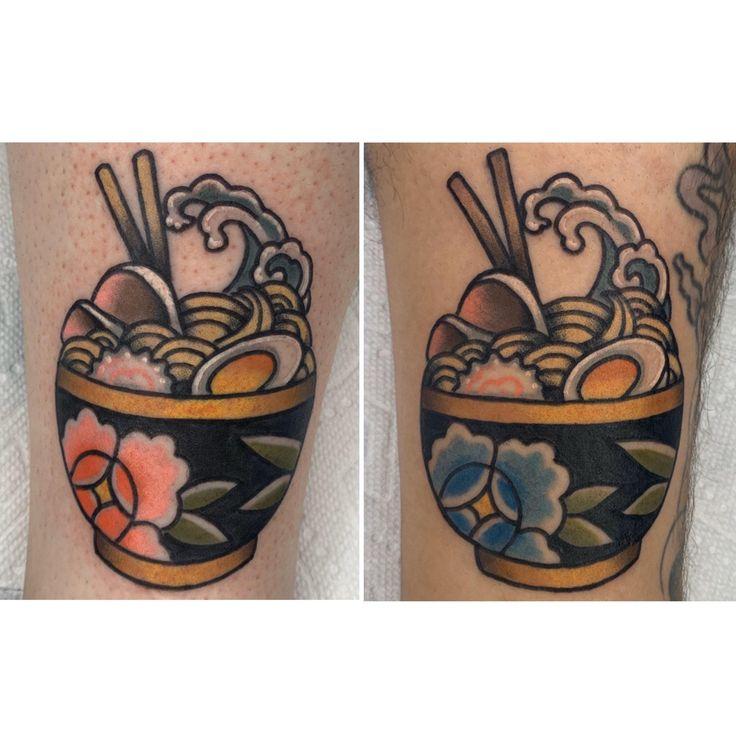 Matching ramen tattoos with my girlfriend done by jess