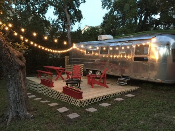 This  classic Airstream  on Town Lake in Austin, Texas comes with its own deck, furniture, grill and light show courtesy of Airbnb.