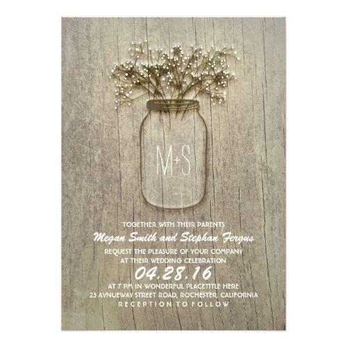 rustic mason jar wedding invitations