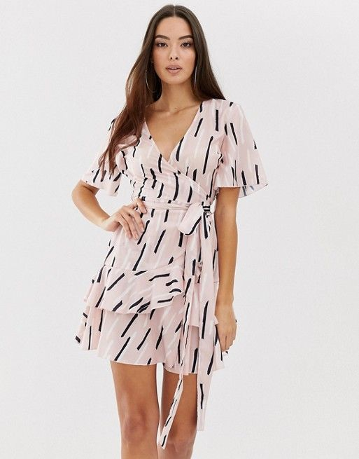 1403cd6b4f9b5 Boohoo wrap dress with ruffle trim in pink with abstract print | ASOS