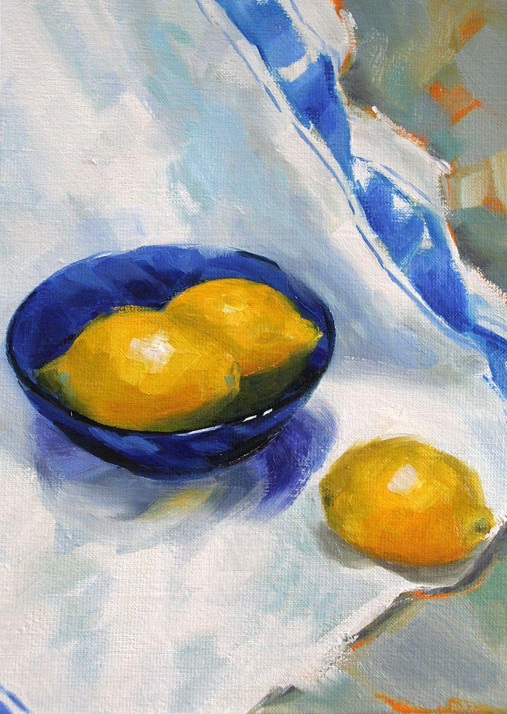 Lemon and Blue, oil still life
