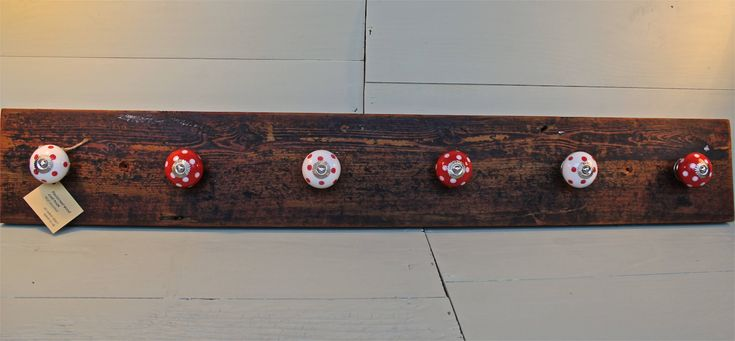 Riveting Wall Mount Coat Rack Simple And Elegant To Use: Furniture Brown Wooden Wall Mounted Coat Hook With Six White Red Knob Hooks On White Wall Inspiring Ideas Of Oak Coat Hooks Wall Mounted As Your Reference Ideas