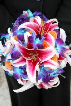 Stargazer Lilies, Blue Dendrobium Orchids, and Tropical Amazon Roses Wedding Bouquet
