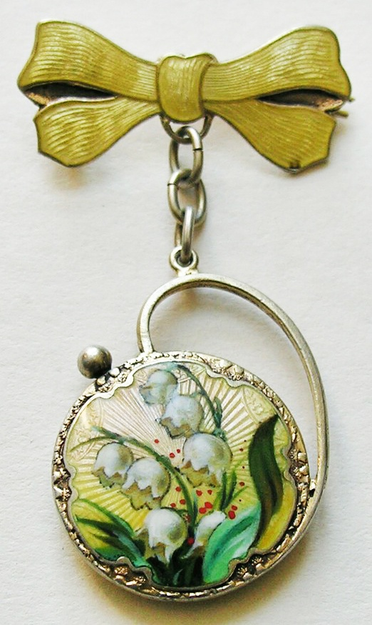 Vintage enameled brooch with lily of the valley