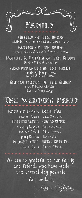 DIY Printable - Wedding Program Chalkboard. $35.00, via Etsy. Use as one giant wedding program to save on printing costs!