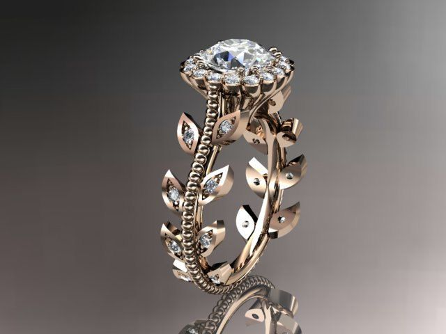 14kt rose gold diamond leaf and vine wedding ring,engagement ring-this shop has some of the most beautiful rings, that I have honestly, ever seen.
