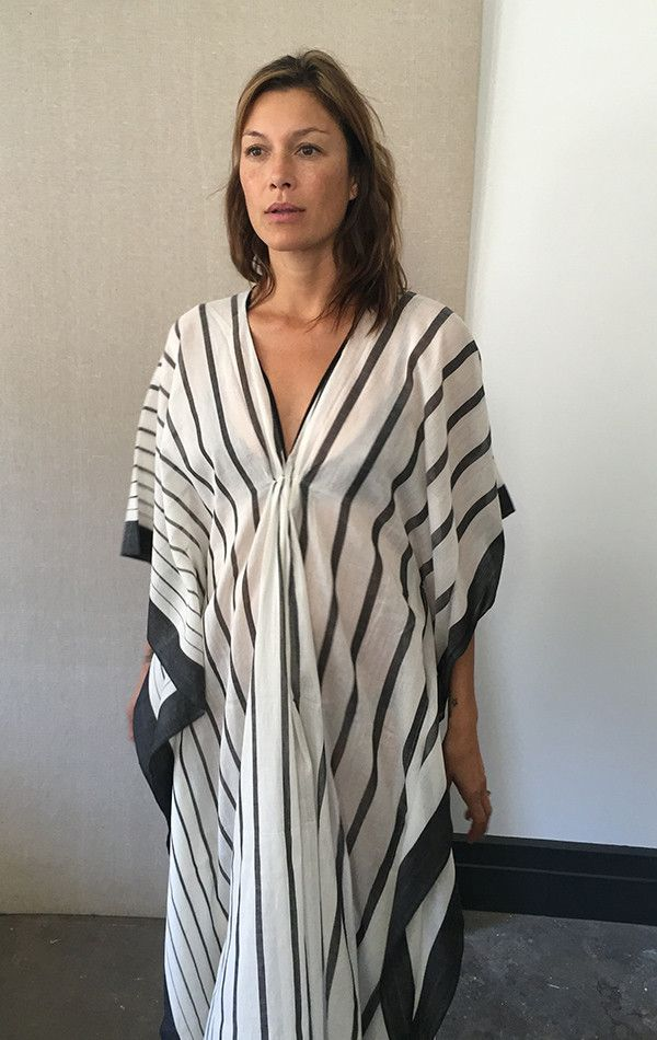 """Handwoven cotton sari caftan with diamonds in black and peach. Color: Natural white - — Length 49"""" with tassel - — One size - — Free domestic shipping on purchases"""