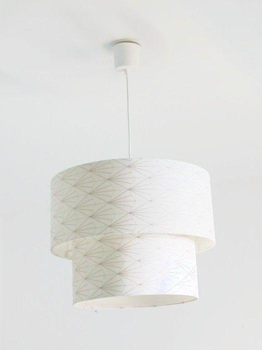 Lustre suspension plafonnier double abat jour art déco - or et - couleur des fils electrique