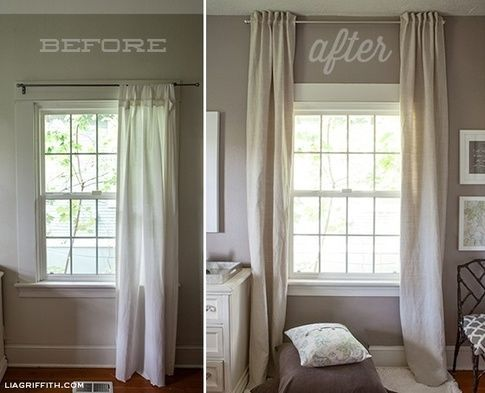 Hang Curtains Up To The Ceiling Make A Low Look Taller