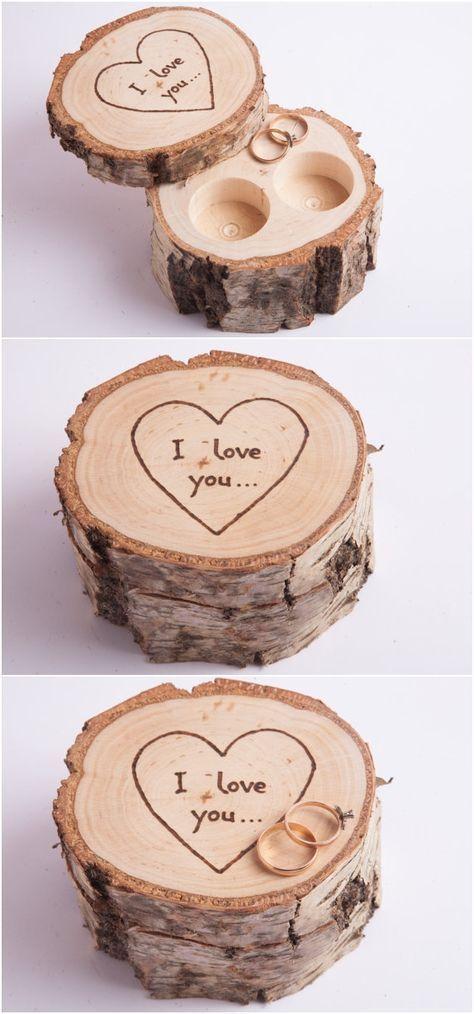 Wooden ring box, ring bearer pillow, birch jewelry box, rustic wedding ring holder, rustic wedding decor, engagement ring box, ring pillow
