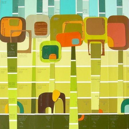 Paint Chip Art: Art Crafts, Art Teacher, Smash Book, Elephants Art, Chips Projects, Paintings Chips Art, Veronica Diago, Art Projects, Paintings Samples