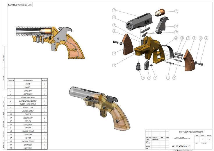 Чертежи пистолета Деринджер Южанин (кликните по изображению, чтобы увидеть фото…