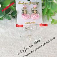Dubbel glas bal glas bubble & stud oorbel set diy dubbele side stud earing (40 stks glas + 20 stks stud earing) in
