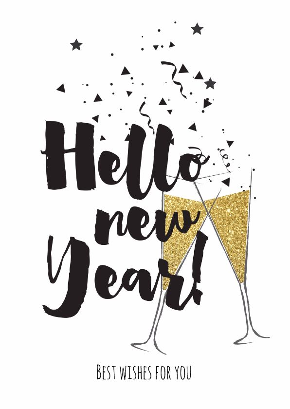Hippe nieuwjaarskaart met klinkende champagne glazen in en goud gekleurde look. Met feestelijke confetti en hippe brush letters. Deze kaart is verkrijgbaar bij #kaartje2go voor €1,89