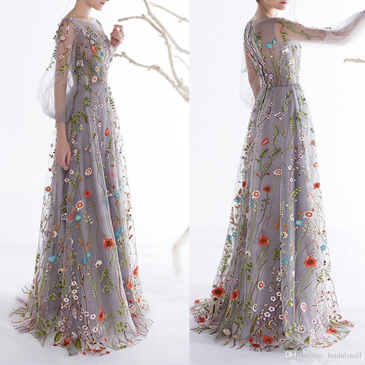 Dobelove Women'S Long Sleeves Prom Dresses 2017 Trendy Floral Embroidery A Line Evening Dresses Formal Party Gowns Pageant Dress Black Evening Dresses Uk Blue Evening Dress From Bridalmall, $96.49| Dhgate.Com