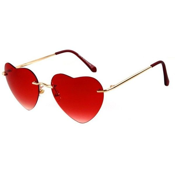 7868cf9bfc Amazon.com  Guoxuan Thin Metal Frame Heart Shaped Sunglasses Red ...  ( 9.98) ❤ liked on Polyvore featuring accessories