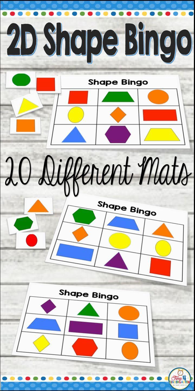 Shape Bingo For Flat Shape Teach Two Dimensional Flat Shapes While Playing Bingo Learn C Shape Activities Kindergarten Shapes Kindergarten Shapes Preschool [ 1440 x 720 Pixel ]