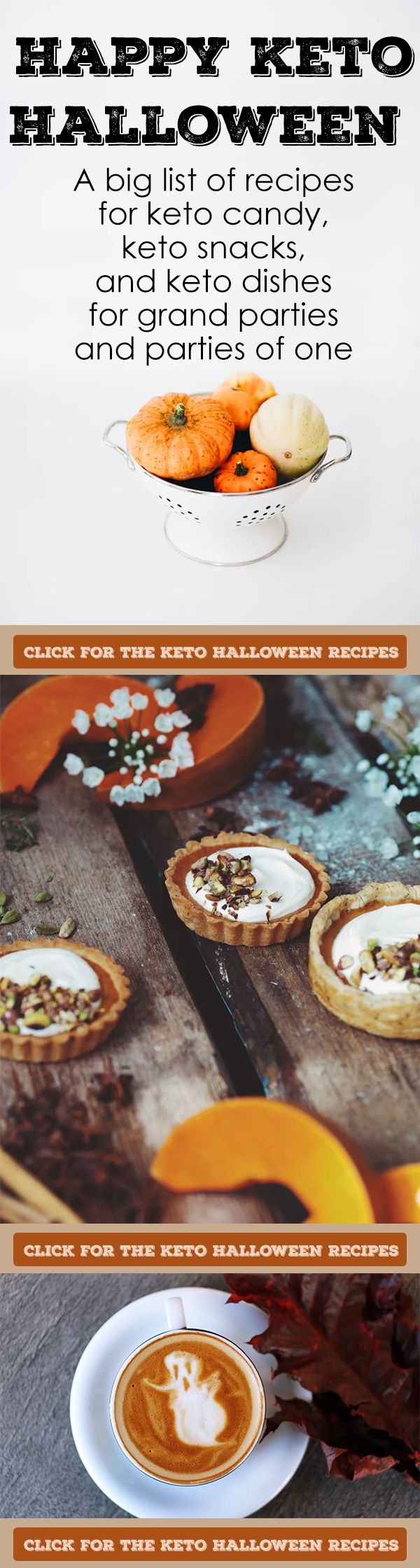 Keto Halloween Recipes! A giant list of keto candy, keto snacks, and keto dishes meant for a crowd or just a party of one.