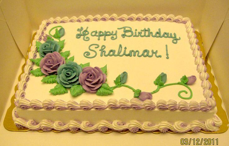 flower birthday sheet cakes rose vines  ... cake 1 4 sheet white cake ...