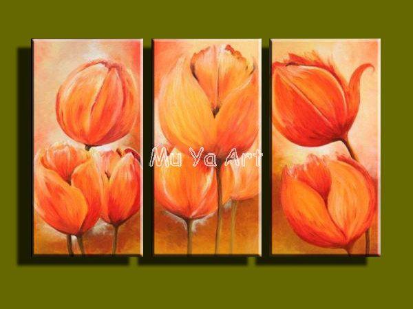 Красивый цветок картины ручная роспись стены 3 шт. холст картина маслом ручной работы маслом на холсте для столовой гостиная украшения