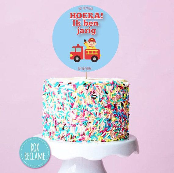 Birthday Cake Topper Firetruck Instant Download Printable Party Red Happy