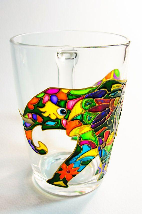 Coffee Mug Indian Elephant Mug Hand Painted Cup by Vitraaze