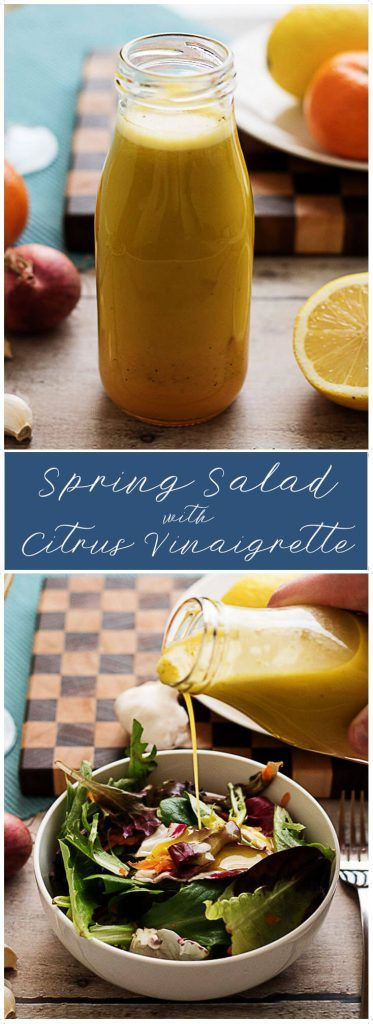 Spring salad with citrus vinaigrette combines olive oil, lemons, limes, and oranges to create a sweet but tart dressing perfect for crisp mixed greens.   via @berlyskitchen