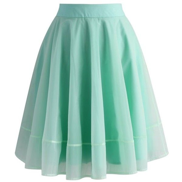 Chicwish Turely Tulle A-line Skirt in Mint (£32) ❤ liked on Polyvore featuring skirts, green, mint green tulle skirt, see through skirt, sheer skirt, mint green skirt and layered skirt