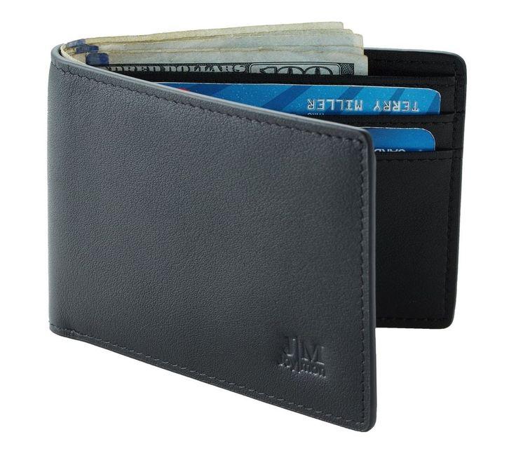 Mens Slim Front Pocket Wallet Leather ID Card Case Perfect Gift New Modern Minim #Joymon #CardCase