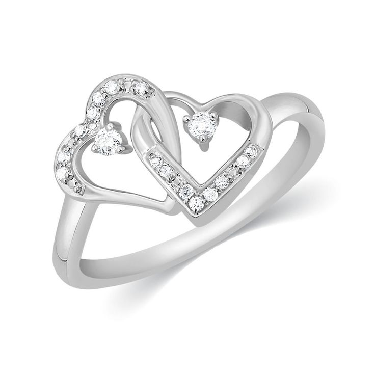 1/10 Ct. Round Cut Real Diamond Double Heart Promise Ring .925 Solid Silver NEW #CaratsForYou #SolitairewithAccents