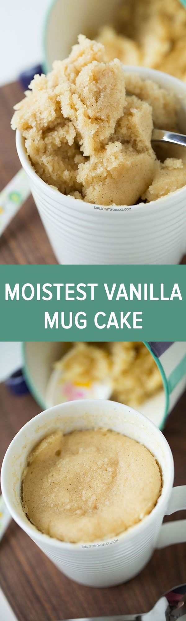 The moistest very vanilla mug cake is like a fluffy vanilla cupcake in a mug! Recipe on tablefortwoblog.com