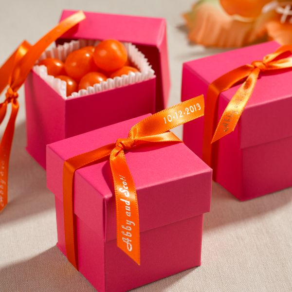 Vibrant Wedding Favor Boxes In Hot Pink With Contrasting Personalized Ribbons