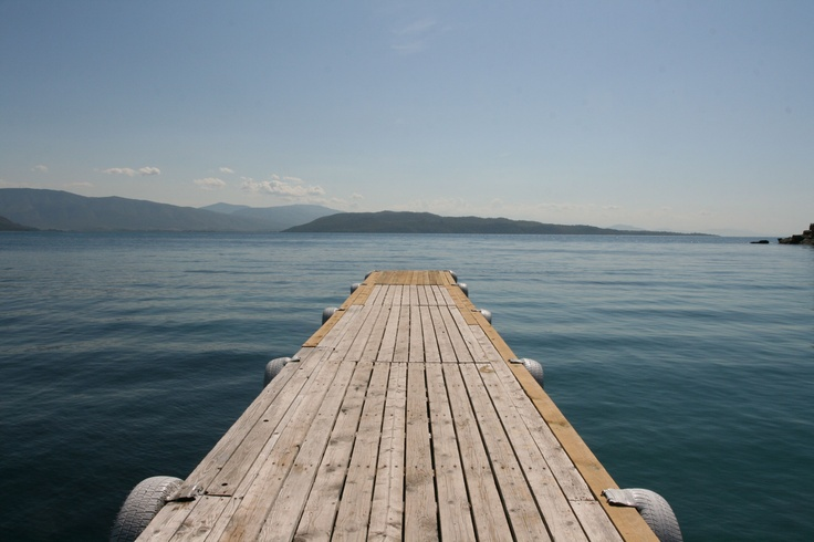 A dock in Kalami on the island of Corfu, Greece.