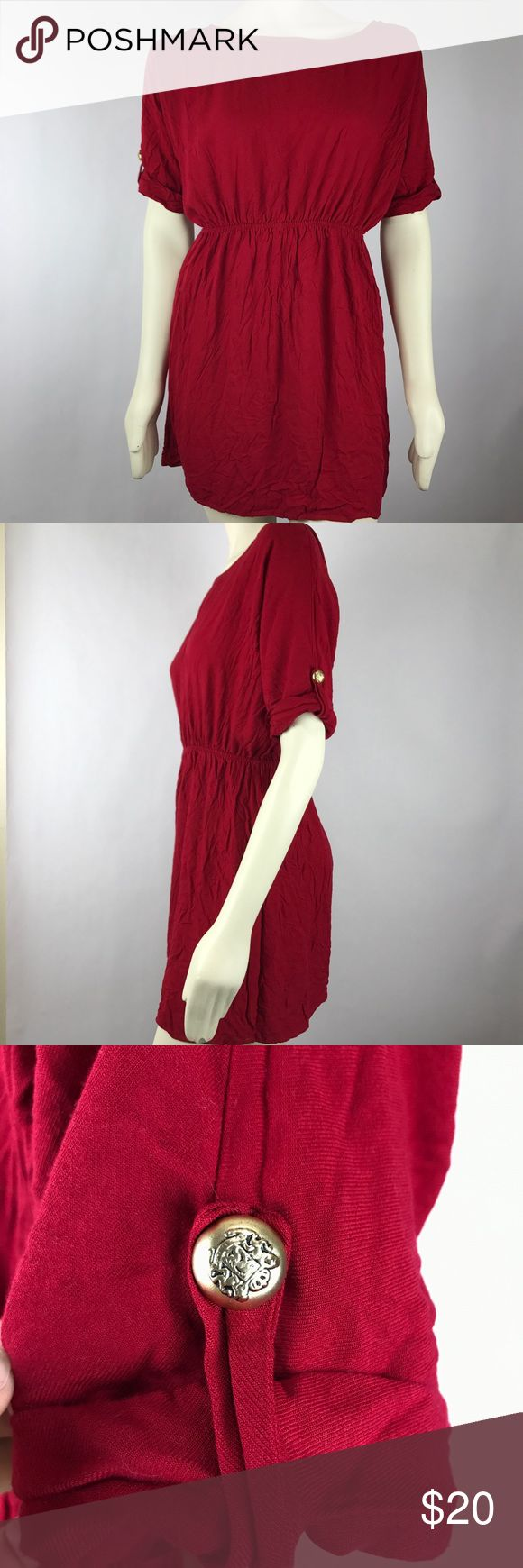 Modcloth Everly Red Blouson Empire Waist Dress Please see last photo for measurements Modcloth Dresses