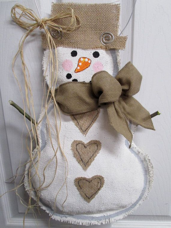 READY TO SHIP Full Body Snowman Burlap Door Hanger by nursejeanneg