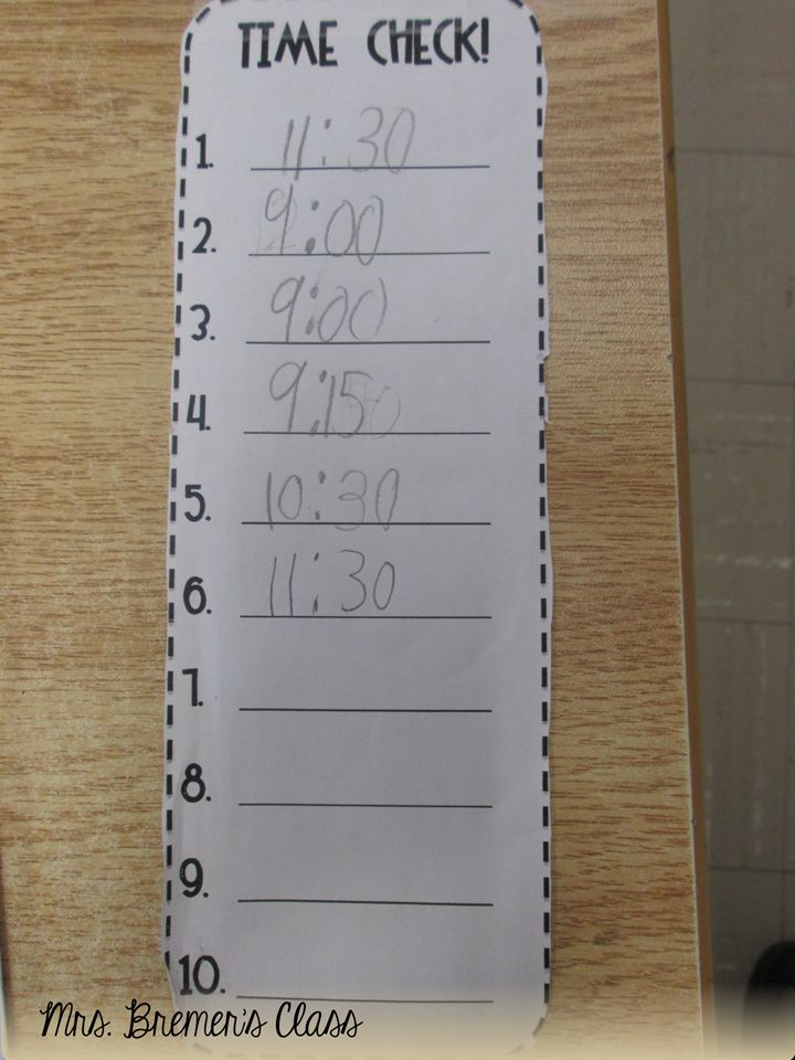 "I had my students tape a Time Check strip to their desk. During the day I would randomly call out ""Time Check"" and students had to look at the clock and record what time it was."